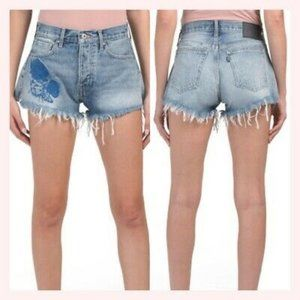 Levi's Embroidered High Rise Western Fray Shorts